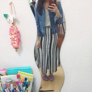 Forever 21 Button Maxi Skirt Stripe NWOT